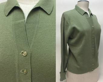 Vintage 1950s Cardigan Sweater / 50s Snug Fitting Olive Green Baby Doll Knit Sweater / size M - L
