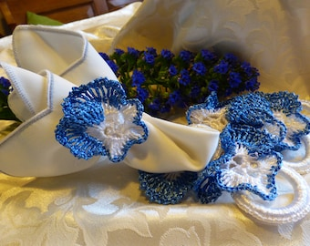Vintage Handcrafted Napkin Rings in Blue and White Raffia - Set of 6 from the 80ties