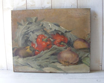 Rare Louise ABBEMA (1853-1927)Antique French Still Life Oil Painting on Canvas,signed.