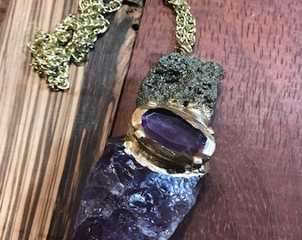 Amethyst and Pyrite Necklace