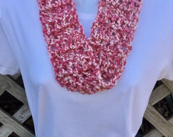 Pink Purple and White Spring/Summer Soft Textured Infinity Cowl Handmade