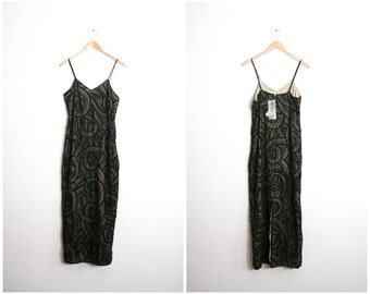 Art Deco Sequin Evening Gown 90s does 20s Formal Cocktail Party Dress / 1990s Silk Beaded Embellished Illusion Dress / NOS / Medium / Large