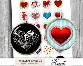 Hearts Circle Printable Collage Sheet 1 inch, 25mm, 30mm, 1.5 inch for Bottle Caps. Cabochon images Digital Collage Sheet Instant Download