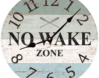 No Wake Zone Wall Clock- Lake Clock