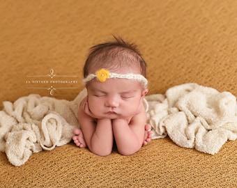 Cream Stretch Knit Layer Wrap Newborn Baby Photography Prop