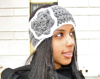Crochet Headband, Ear Warmer With Flower, Adult, Crochet, Gray, White, Women,Teen,,