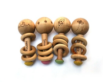 Wooden Baby Rattle - Stocking Stuffer - New Baby Gift - Personalized Baby Rattle - Waldorf Baby - Baby Wooden Toy