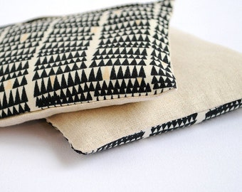 Lavender Sachet Set in Black Triangles & Linen Organic Lavender Set of 2  Natural Home Mother's Day Gift