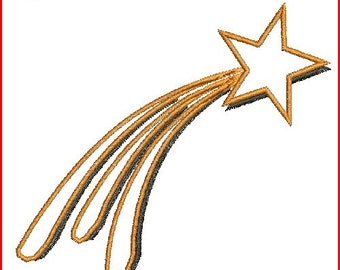 Shooting Star Applique Design Digitized Machine Embroidery Design - 3 Sizes - Instant Download