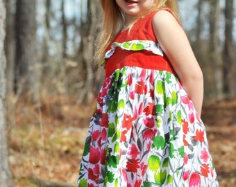Childrens PDF Sewing Pattern, INSTANT DOWNLOAD, Dress Sewing Pattern for Girls, Ashley Paneled Dress