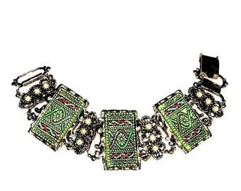 Green Engraved Glass Tile Bracelet