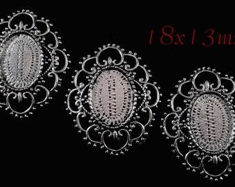 """18x13mm Antique Silver Setting - """"Missy I"""" - 3pcs : sku 12.03.14.8 - Y4"""