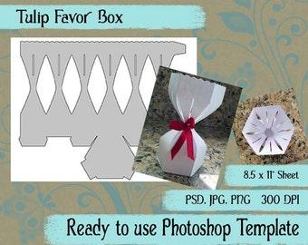 "Digital Template: ""Tulip Favor Box"" DIY Digital Tulip Favor Box Photoshop Template Party Favor Crafting Supplies"