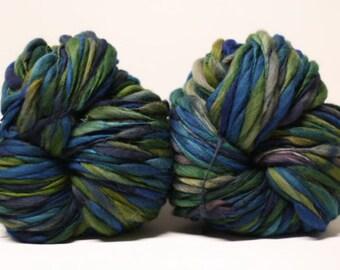 Thick and Thin Wool Yarn Merino Bulky Hand Spun Wool Slub  Hand Dyed tts(tm) Self-Striping LR1617