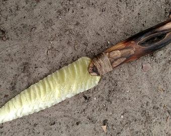 Flint Knapped Yellow Glass Knife