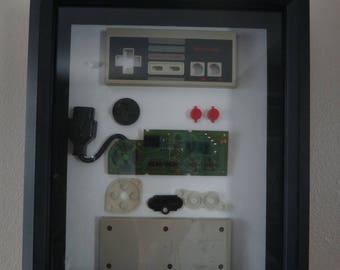 Nintendo Controller - Inside View Black Frame Shadow Box (Original NES)