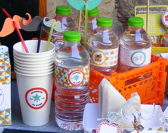 WATER BOTTLE LAVELS set of 6. Hipster theme.  Candy bar. Sweet table. Sweet buffet