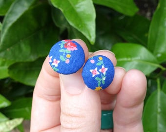 Flower earrings, stud earrings, bright earrings, statement earrings, college student gift, gift under 10, fabric studs, button earrings
