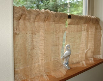 Rustic chic Fringed Burlap cafe curtain panels set of two. In natural, white or ivory burlap with fringed bottom, custom sizes & colors