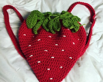 Crochet Strawberry Backpack