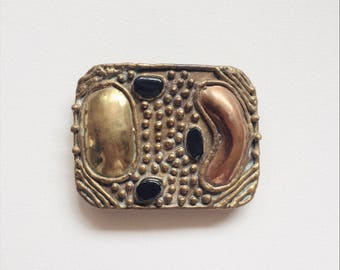 Vintage Belt Buckle Brass Copper + Onyx Artist Made