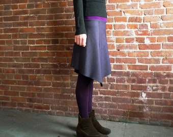 Womens Skirt, Wool Skirt, Purple, Navy Purple, Organic Bamboo, Asymmetrical, A Line, Winter Style, Office, Gift for Her, Casual, Comfy, Midi
