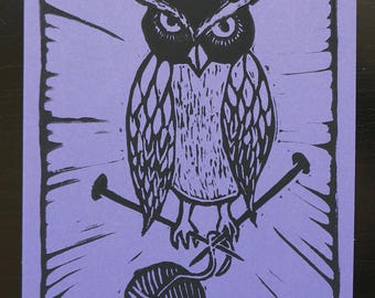 Knitting Owl - block printed postcard