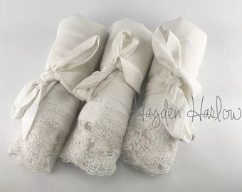 White/Light Ivory Cotton Robe lace trim-Bride Bridesmaid Flowergirl Gift-Monogrammable sizes 0-26 standard,petite, child sizes, personalized