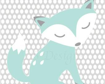 Fox Nursery Decor, Woodland Nursery Art, Gender Neutral Nursery Decor, Aqua and Gray Nursery, Fox Nursery Art, Woodland Nursery Decor
