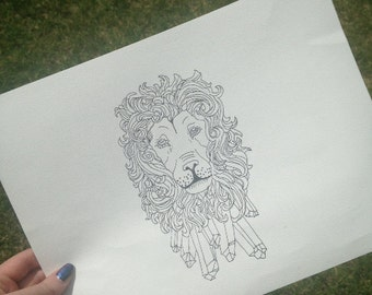 Lion Crystal original drawing- Pen drawing, lion drawing, crystals tattoo design.