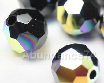 6 pcs Swarovski Elements - Swarovski Crystal Beads 5000 10mm Round Ball Beads - Jet AB