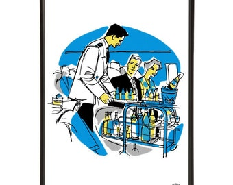 """Drinks Cart pop art print - the """"Mid-Century Jet Set"""" collection inspired by retro air travel - Bar Cart Art"""