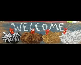 "5.5"" X 21"" #224 Chicken Art Sign Folk Art Chickens Original Painting"