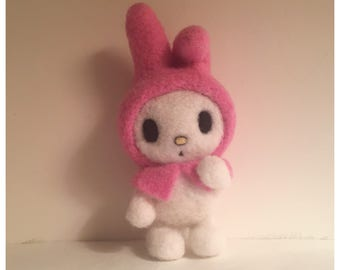 My Melody Felted Soft Sculpture Figurine Kawaii Sanrio Hello Kitty Friend Needle Felted Rabbit with Pink Hood Little Twin Stars Friend Bunny
