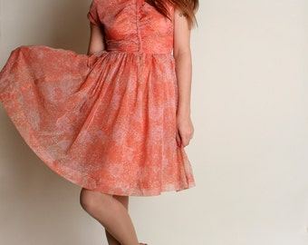 Vintage 1960s Dress - Peach Floral Sheer Chiffon Party Dress - 60s Dress - Small