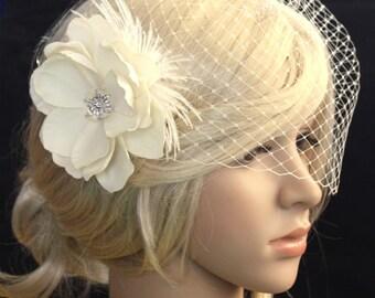 Ivory Birdcage Veil - 2 items