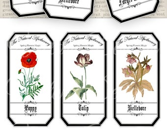 Spring Flowers Apothecary Labels 4.5 x 2.23 inch eco save ink Jar Labels Tags instant download digital collage sheet VDAPVI0904