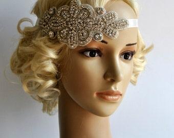 Crystal Headband,Rhinestone flapper Gatsby Headband, Wedding Bridal Headband  Headpiece, Halo Bridal Headpiece, 1920s Flapper headband