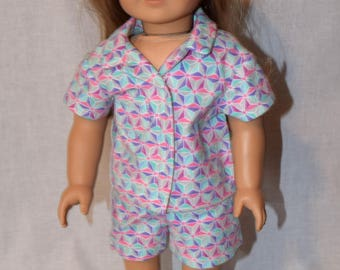 Pastel Geometric Pajama Set, 18 Inch Doll Clothes