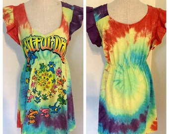 Grateful Dead T Shirt, Grateful Dead T Shirt Dress, repurposed t shirt, repurposed t shirt dress, tie dye dress, hippie dress, boho dress,