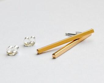 "Gold Square Bar Stud Earrings - 1"" Gold Line Bar Earrings - Minimal Gold Drop Studs - Minimalist Dangle Bars - Hook and Matter Brooklyn NYC"