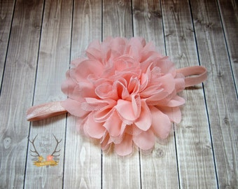 Peach Large Flower Headband - Flower Girl Newborn Baby Infant Toddler - Wedding Lace Chiffon Flower - peachy pink Over the Top Huge