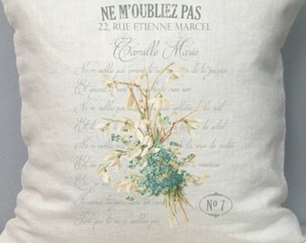 French Pillow Cover. French Country Pillow Cover. Shabby Chic Pillow. French Perfume Label. French Antiques. Vintage Pillow.
