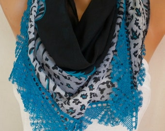 Black & Teal Cotton Scarf Shawl, Spring SummerScarf,  Cowl  with  Lace Edge,Gift for her mom,women fashion accessories,unique scarf