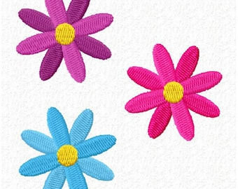 3 Flowers Machine Embroidery Design - Instant Download