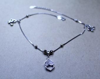 anklet - silver (925 adjustment, Zircon stone )