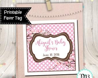 Cherry Blossom Favor Tag Square Tag Baby Shower Bridal Shower Birthday Printable Digital