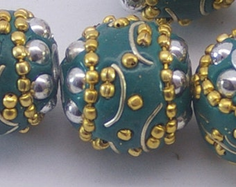 KASHMIRI BEADS (1) tribal bead, ethnic bead, handmade, round bead, clay bead, beading supplies, teal, affordably priced, destash beads