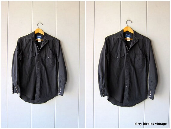 Black Cotton Western Pearl Snap Shirt Vintage 80s WRANGLER Shirt Hipster Grunge Work Shirt Men's Small