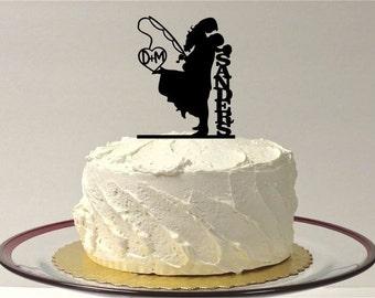 MADE In USA, Fishing Wedding Cake Topper,  Personalized Fishing Themed Wedding Cake Topper, Fishing Cake Topper, Silhouette Cake Topper